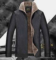 Куртка зимняя кожаная на овчине,дубленка мужская.Большие размеры. 6XL.