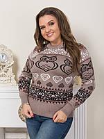 Новогодний свитер женский с совами р. 46-52