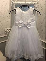 Белое пышное нарядное праздничное  платье на девочку