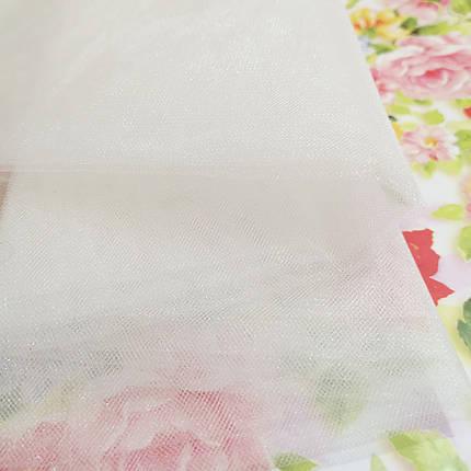 Тканина фатин середньої жорсткості молочний, фото 2