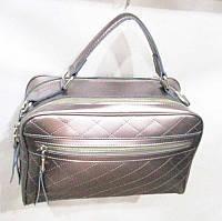 Женская сумка из натуральной кожи цвет серебро