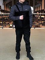 Анорак Nike Intruder утепленный на синтепоне, мужской черный + темно-серый осенний/весенний, фото 1