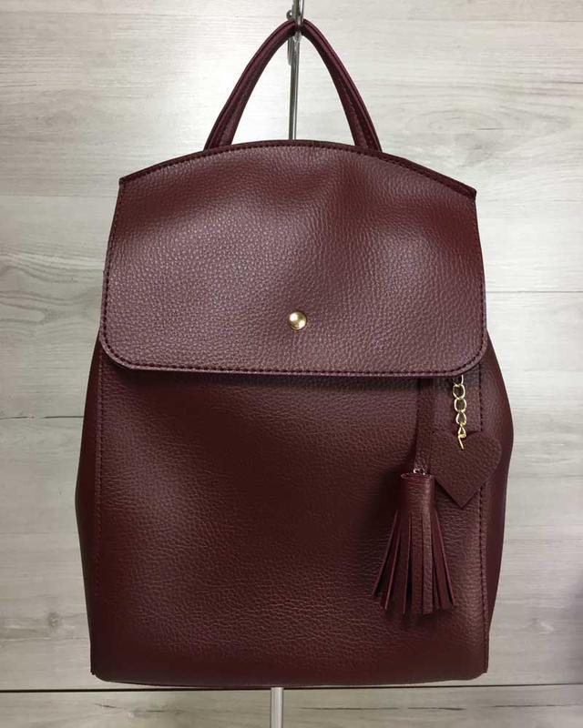 Молодежный сумка-рюкзак бордовый