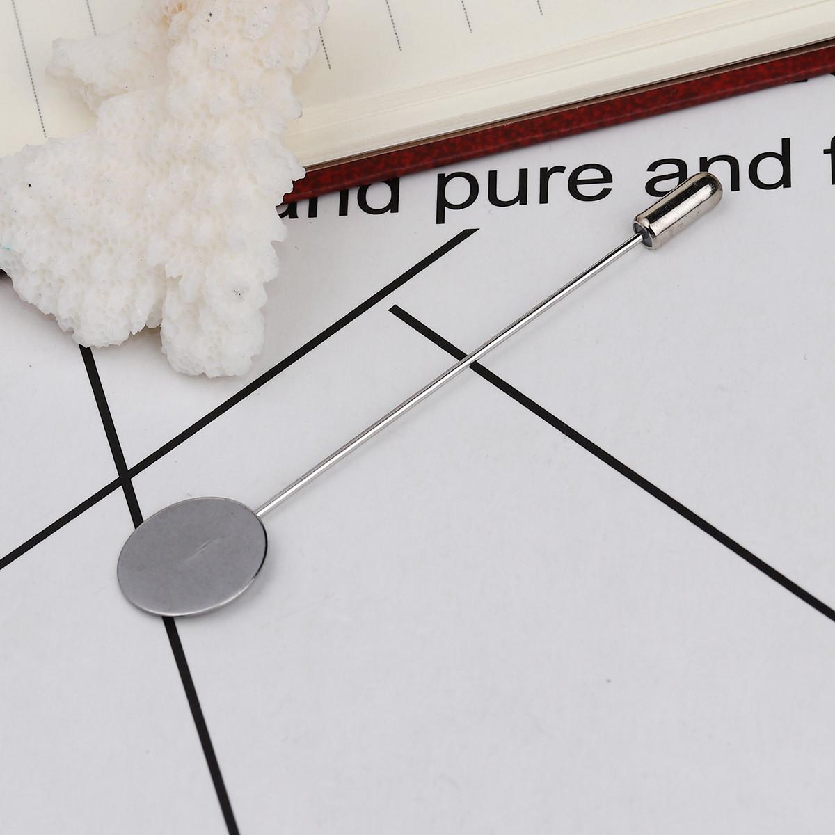Основы для Броши, Пина, 77 мм х 15 мм, Серебряный тон, Основа для кабошона 15 мм, Нержавеющая сталь