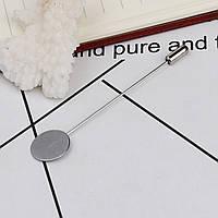 Основы для Броши, Пина, 77 мм х 15 мм, Серебряный тон, Основа для кабошона 15 мм, Нержавеющая сталь, фото 1