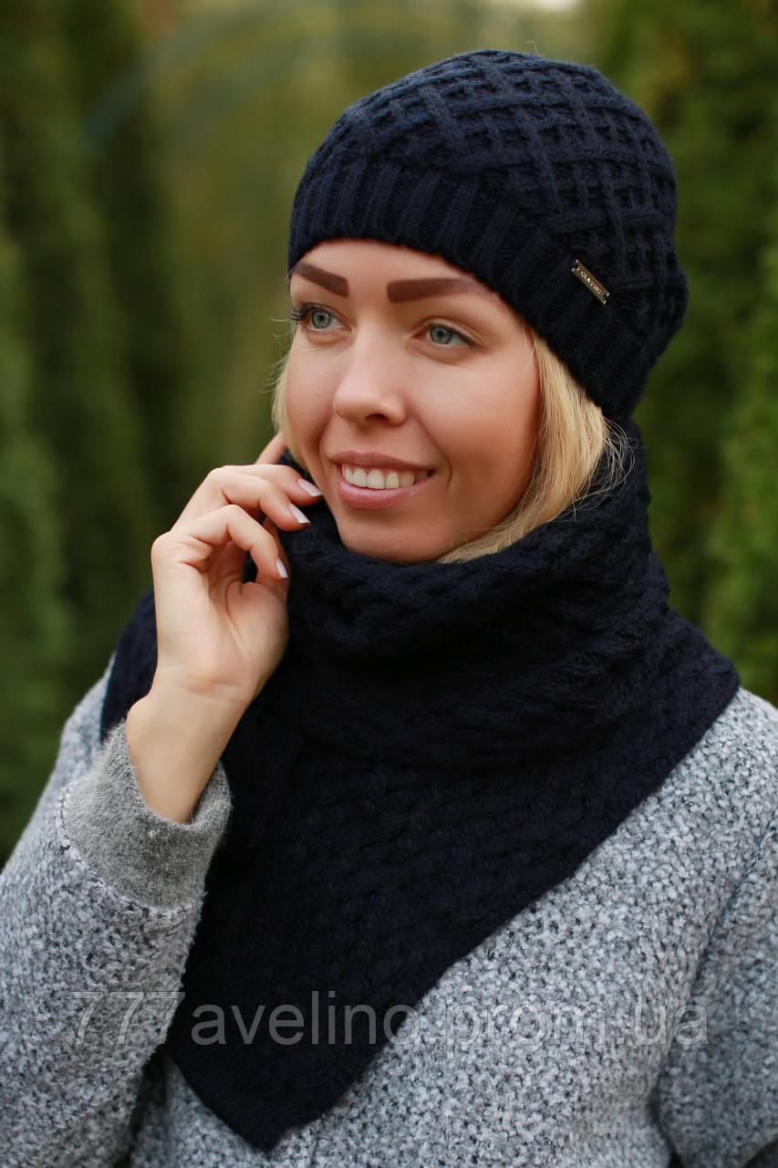Комплект шапка и шарф шерстяной на флисе