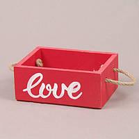 Кашпо деревянное LOVE красное