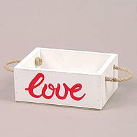 Кашпо деревянное LOVE белое