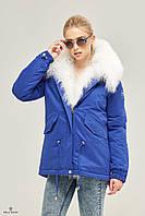 Куртка парка укороченная с мехом ML индиго