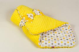 """Конверт - одеяло на выписку демисезонный """"Солнышко"""" 80 х 85см желтый"""