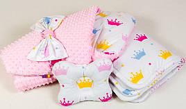 "Демисезонный конверт на выписку + подушка ""Принцесса"" одеяло 80 х 85 подушка 22х26 розовый"