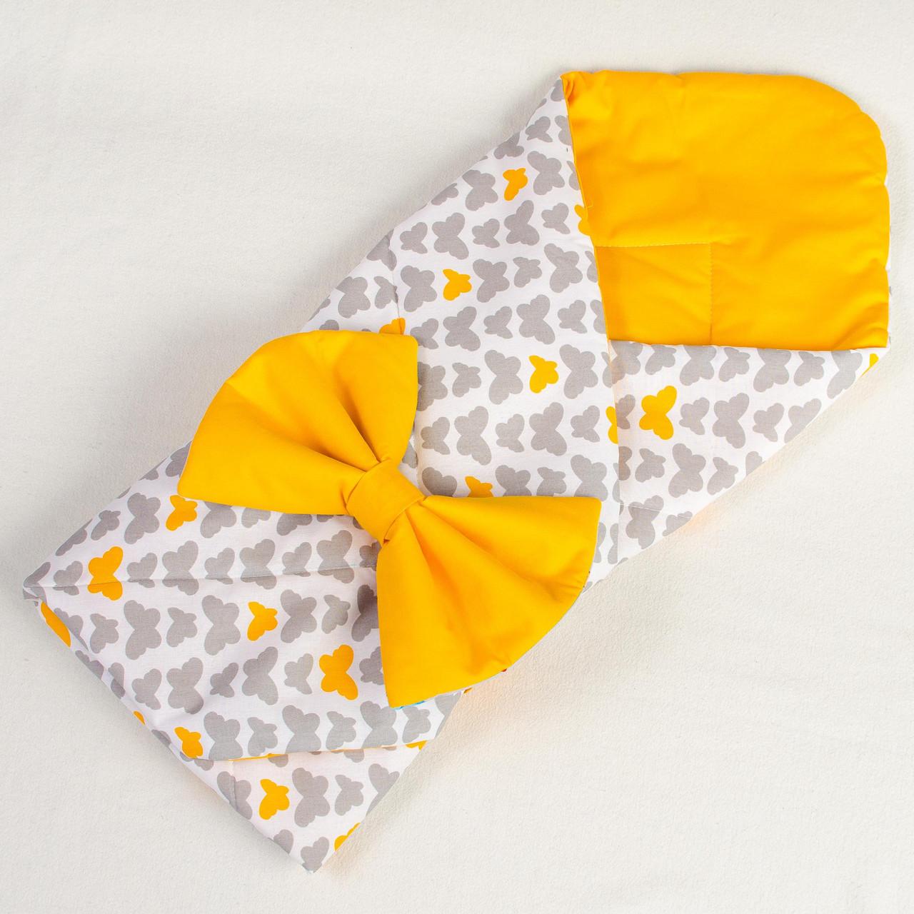 """Детский летний конверт - одеяло на выписку """"Бабочки"""" 80см х 85см оранжевый"""
