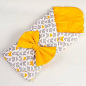 """Детский летний конверт - одеяло на выписку """"Бабочки"""" 80см х 85см оранжевый, фото 2"""