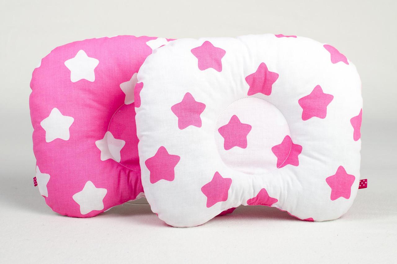 """Подушка ортопедическая для новорожденных """"Розовые звезды"""""""