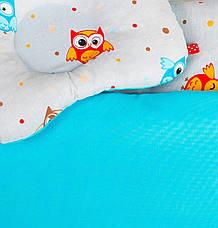 """Набор в коляску летний """"Забавные совы"""" одеяло 65 х 75 см подушка 22 х 26 см бирюзовый, фото 2"""