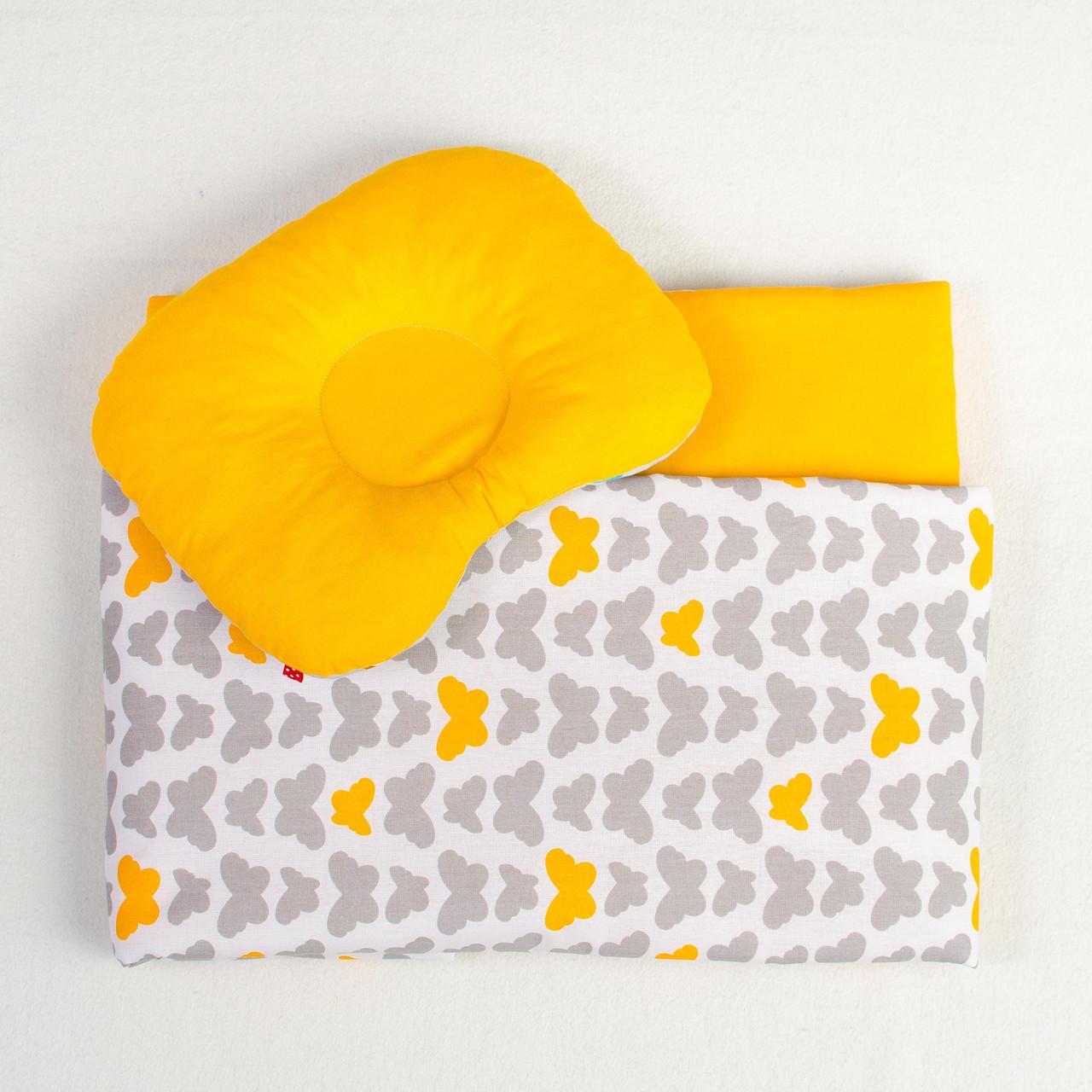 """Комплект для новорожденных в коляску """"Бабочки"""" одеяло 65 х 75 см подушка 22 х 26 см оранжевый"""