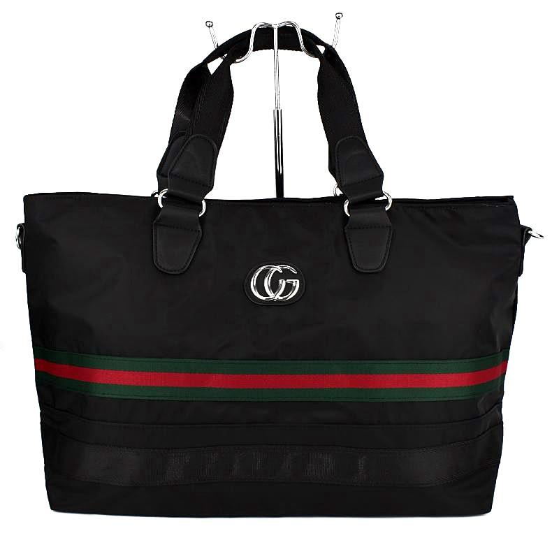 Сумка дорожная спортивная текстильная черная Gucci 39825