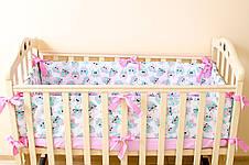 """Бортики в детскую кроватку """"Розовые совушки в очках"""" 360см х 27см, фото 3"""
