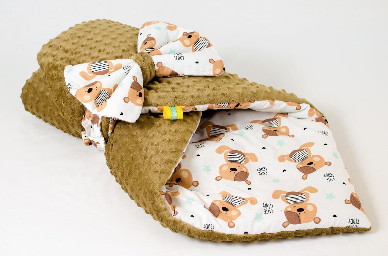 """Демисезонный плюшевый конверт - одеяло на выписку """"Мишки Тедди"""" 78 х 85 см"""