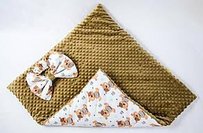 """Демисезонный плюшевый конверт - одеяло на выписку """"Мишки Тедди"""" 78 х 85 см, фото 2"""