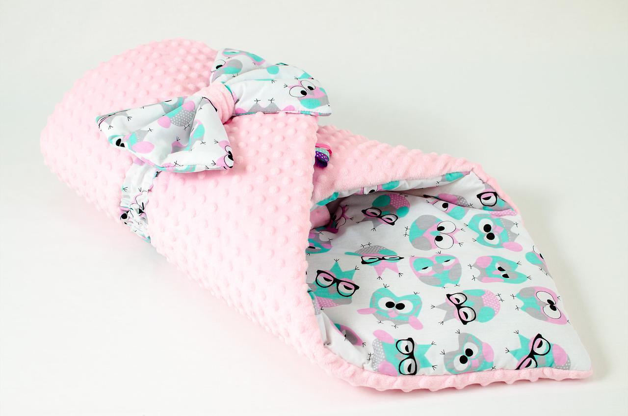 """Демисезонный плюшевый конверт - одеяло на выписку """"Розовые совушки в очках"""" 78 х 85 см"""