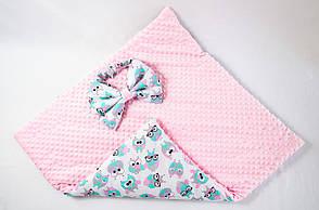 Зимний плюшевый конверт - одеяло на выписку BabySoon Розовые совушки в очках 78 х 85 см (569), фото 2