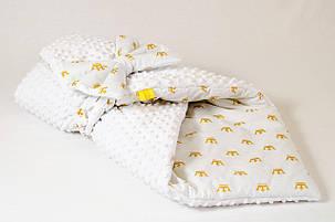 Зимний плюшевый конверт - одеяло на выписку BabySoon Золотые короны 78 х 85 см (571), фото 2