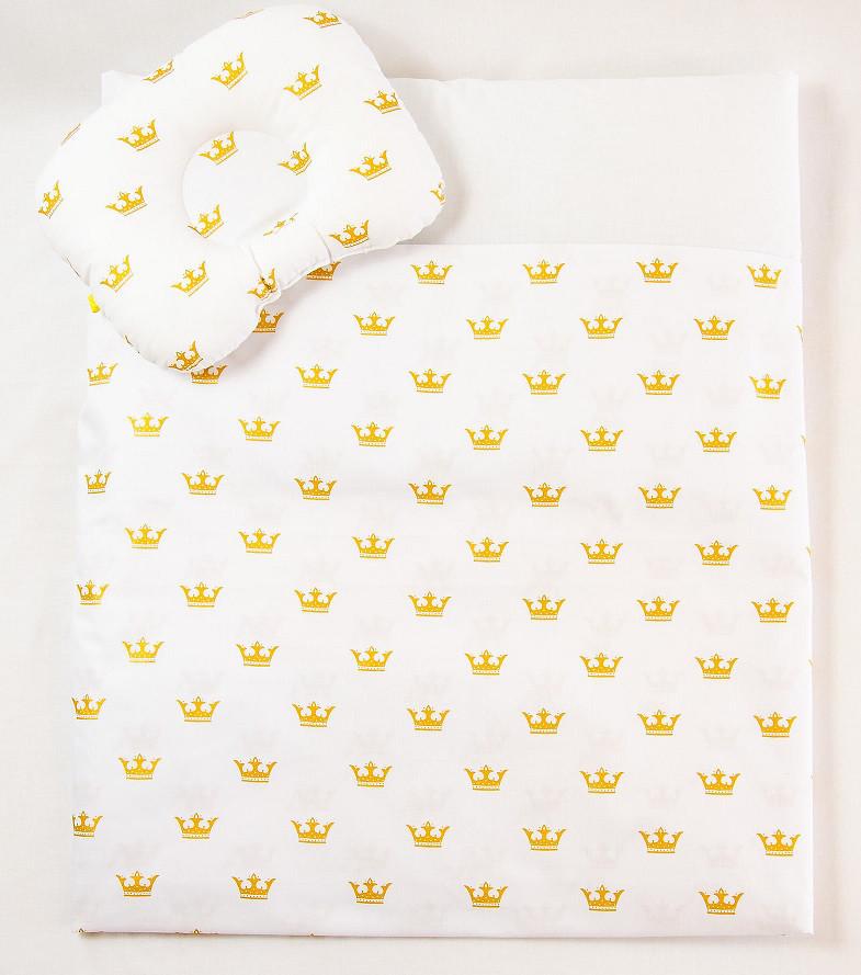 "Летний комплект в коляску ""Золотые короны"" одеяло 65 х 75 см подушка 22 х 26 см"