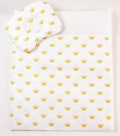 "Летний комплект в коляску ""Золотые короны"" одеяло 65 х 75 см подушка 22 х 26 см, фото 2"