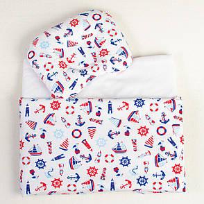 """Комплект в коляску """"Мой морячок"""" одеяло 65 х 75 см подушка 22 х 26 см, фото 2"""