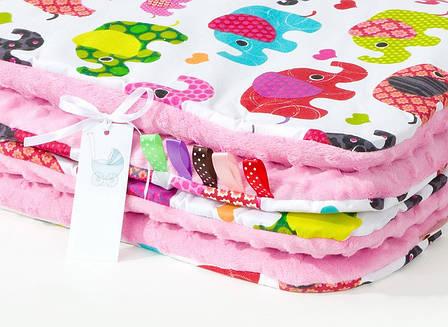 """Плед детский плюшевый """"Слоники"""" на розовом 80 х 85 см розовый, фото 2"""