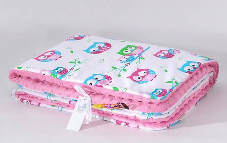 """Плед детский плюшевый """"Нежные совушки"""" на розовом плюше 80 х 85 см, фото 2"""