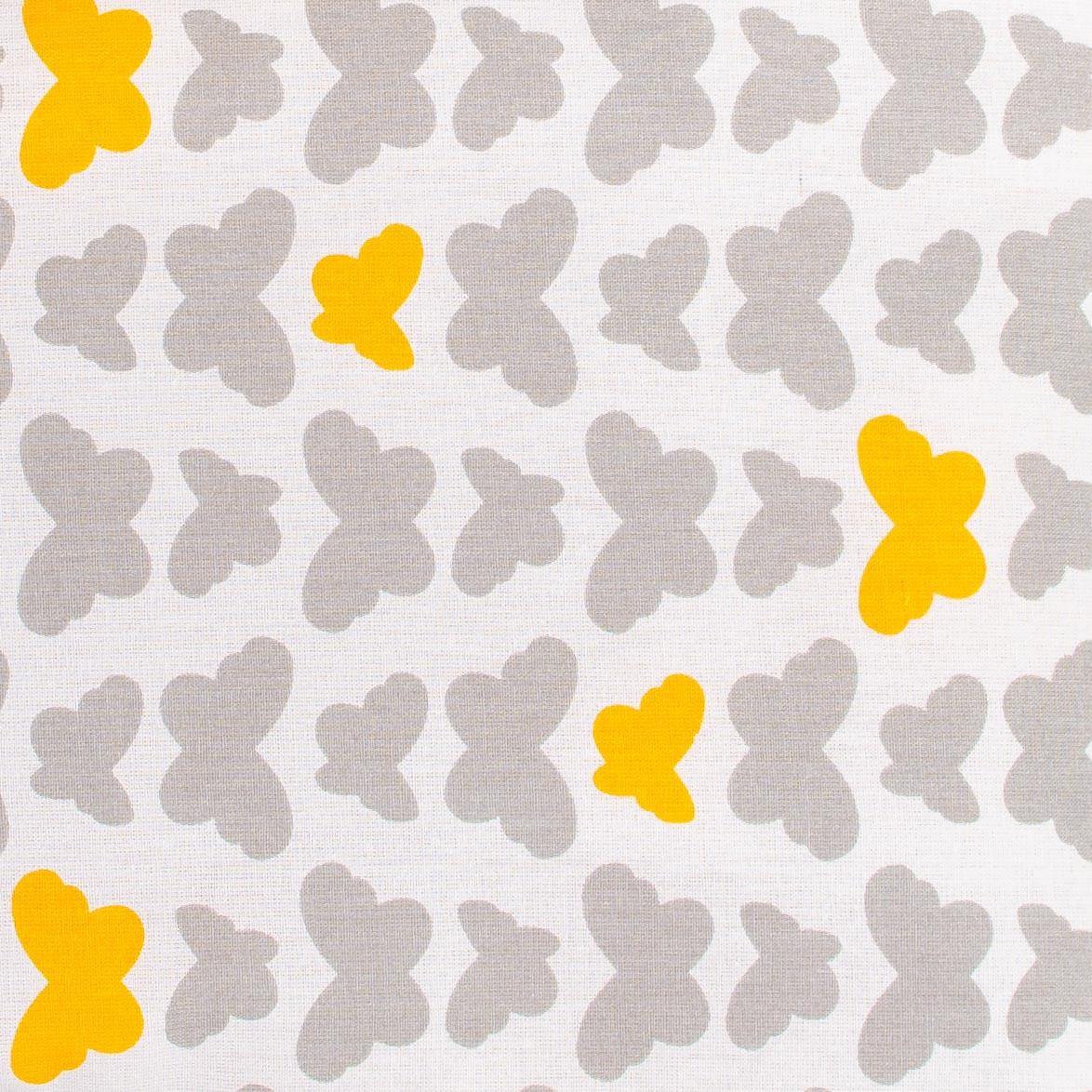 """Простынь на резинке в детскую коляску """"Серые бабочки"""" 80 х 40 см (100% хлопок)"""