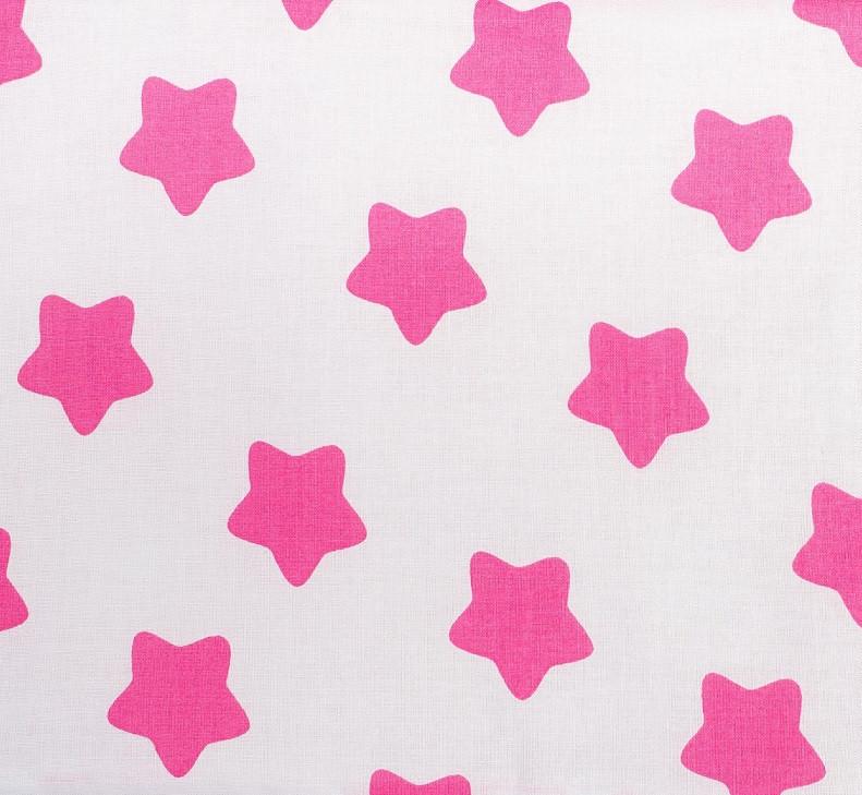 """Простынь на резинке в детскую коляску """"Розовые звезды"""" на белом 80 х 40 см (хлопок)"""