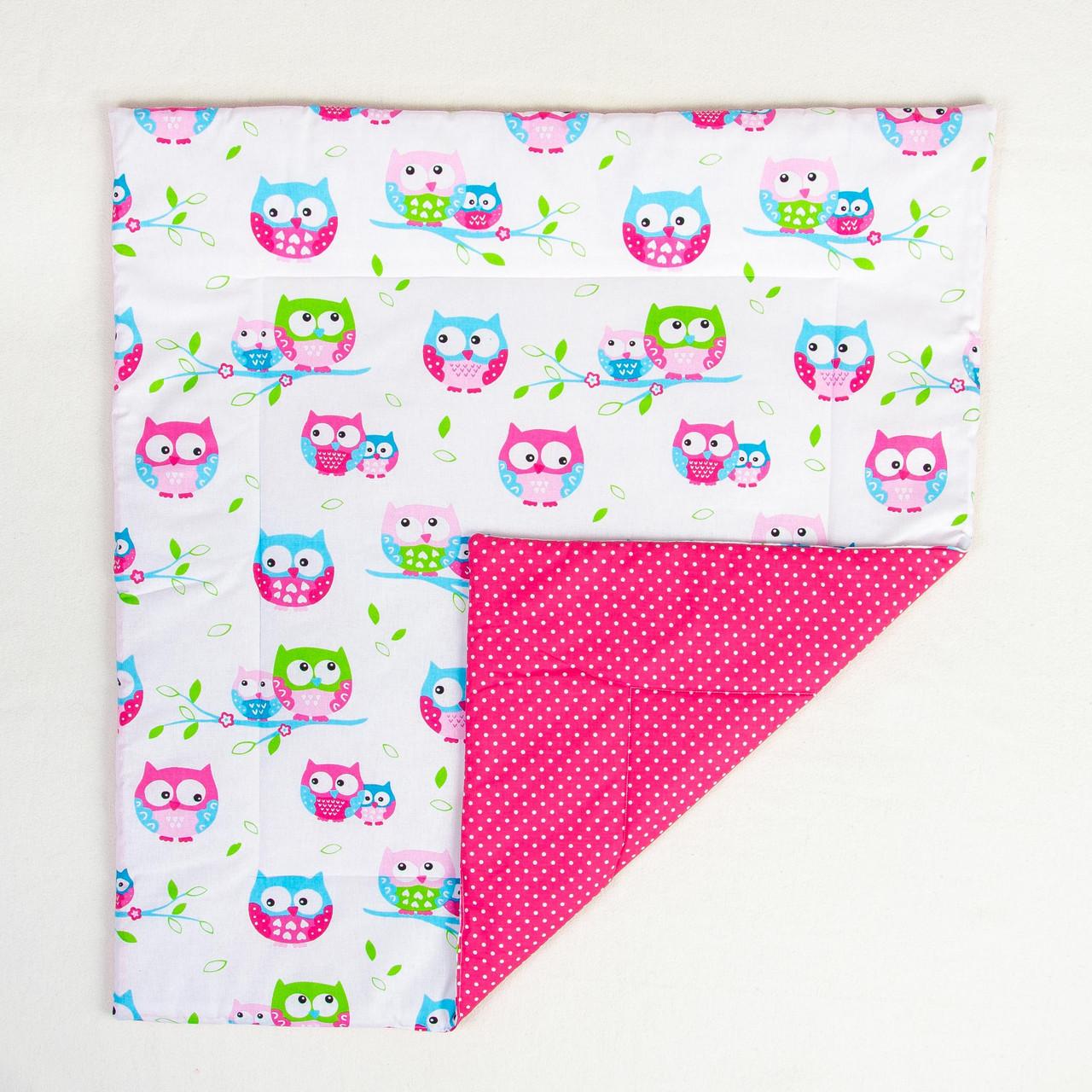 """Детское хлопковое одеяло """"Яркие совушки"""" 80 х 85 см цвет розовый"""