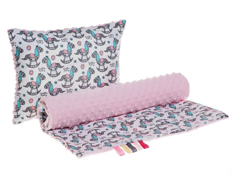 """Комплект в детскую коляску """"Лошадки"""" одеяло 75 х 78 см подушка 30 х 40 см розовый"""