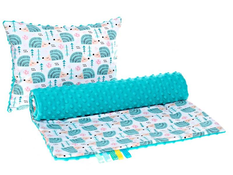 """Комплект в детскую коляску """"Ежики мятные"""" одеяло 75 х 78 см подушка 30 х 40 см бирюзовый"""