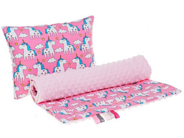 """Комплект в детскую коляску """"Пони Пинк"""" одеяло 75 х 78 см подушка 30 х 40 см розовый плюш, фото 2"""