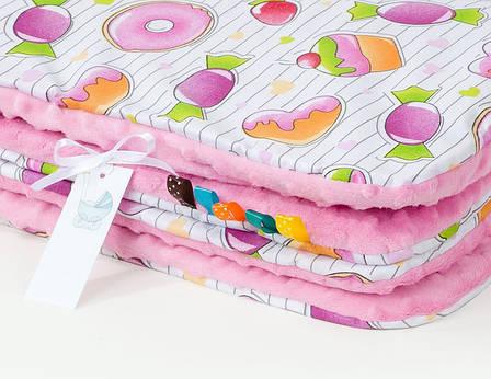 """Плед детский плюшевый """"Конфетки"""" 78 х 85 см плюш розовый, фото 2"""