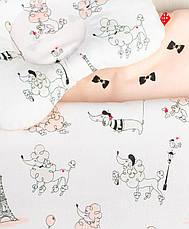 """Постельное белье в детскую колыбель, три предмета (одеяло, подушка, простынь) """"Пудели в Париже"""" цвет пудры, фото 3"""