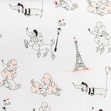 """Постельное белье в детскую колыбель, три предмета (одеяло, подушка, простынь) """"Пудели в Париже"""" цвет пудры, фото 2"""