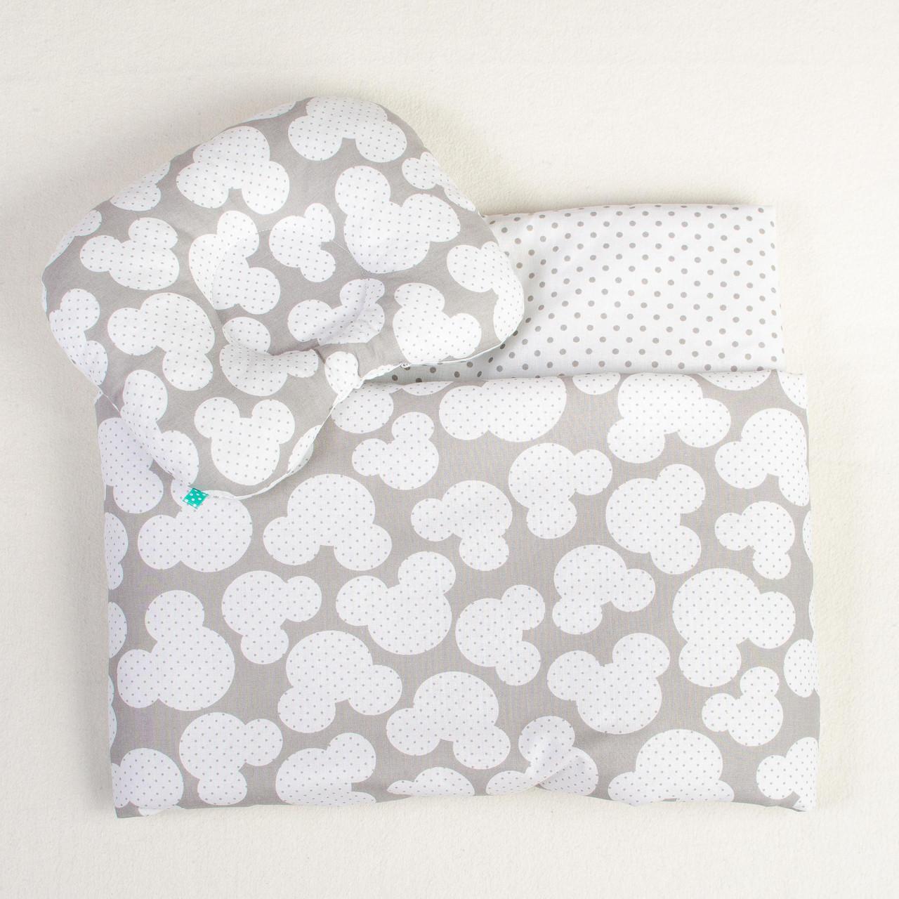 """Постельное белье в детскую колыбель, три предмета (одеяло, подушка, простынь) """"Микки"""" Серый"""