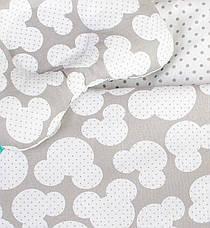 """Постельное белье в детскую колыбель, три предмета (одеяло, подушка, простынь) """"Микки"""" Серый, фото 2"""