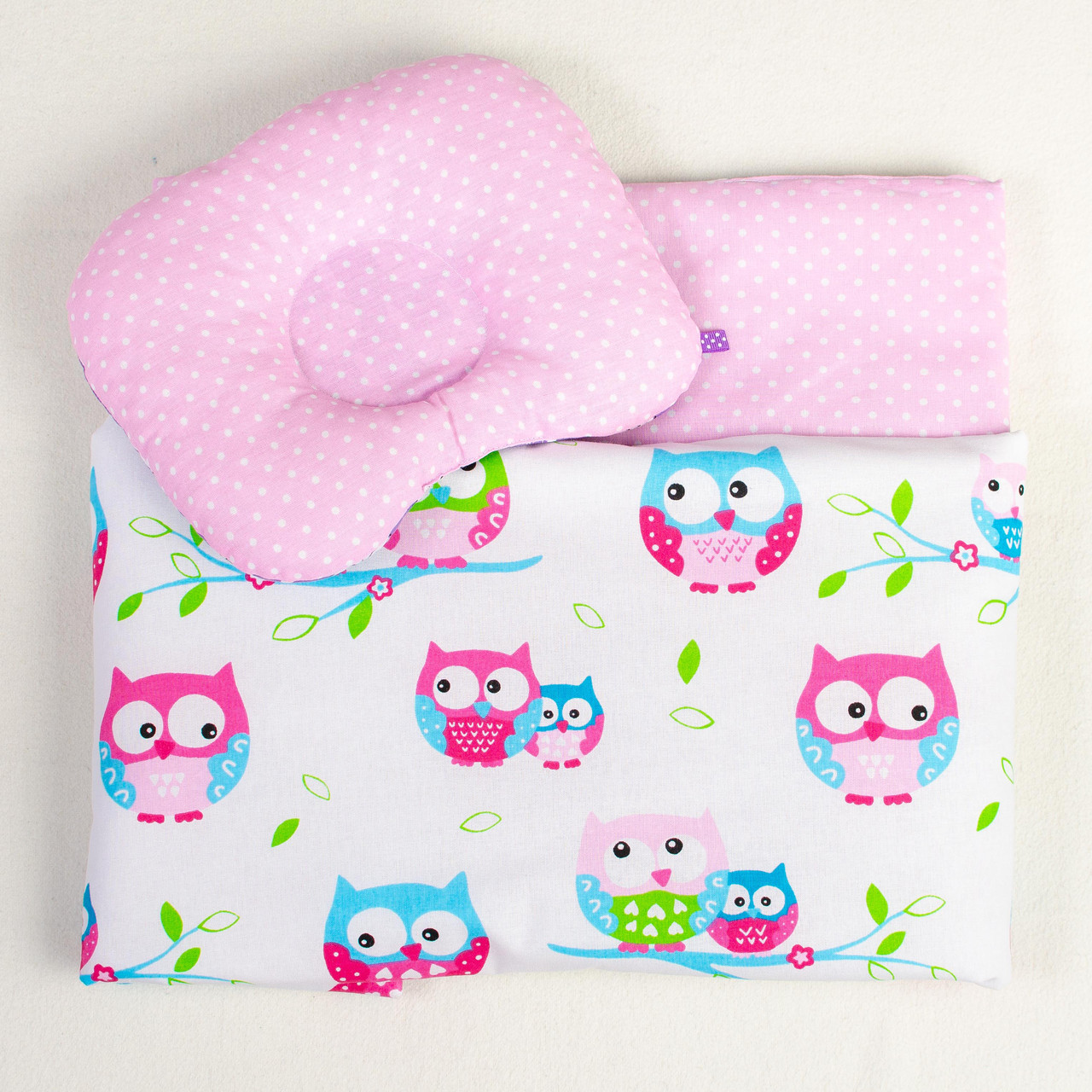 """Постельное белье в детскую колыбель, три предмета (одеяло, подушка, простынь) """"Нежные Совушки"""""""