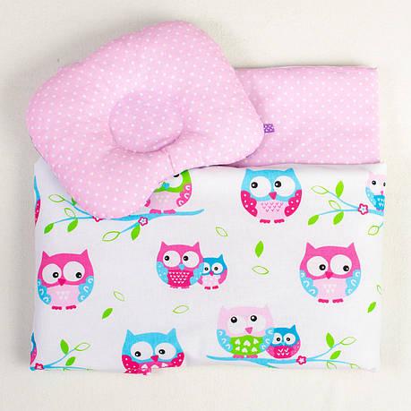"""Постельное белье в детскую колыбель, три предмета (одеяло, подушка, простынь) """"Нежные Совушки"""", фото 2"""