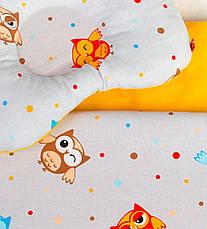 """Постельное белье в детскую колыбель, три предмета (одеяло, подушка, простынь) """"Веселые совы"""", фото 3"""