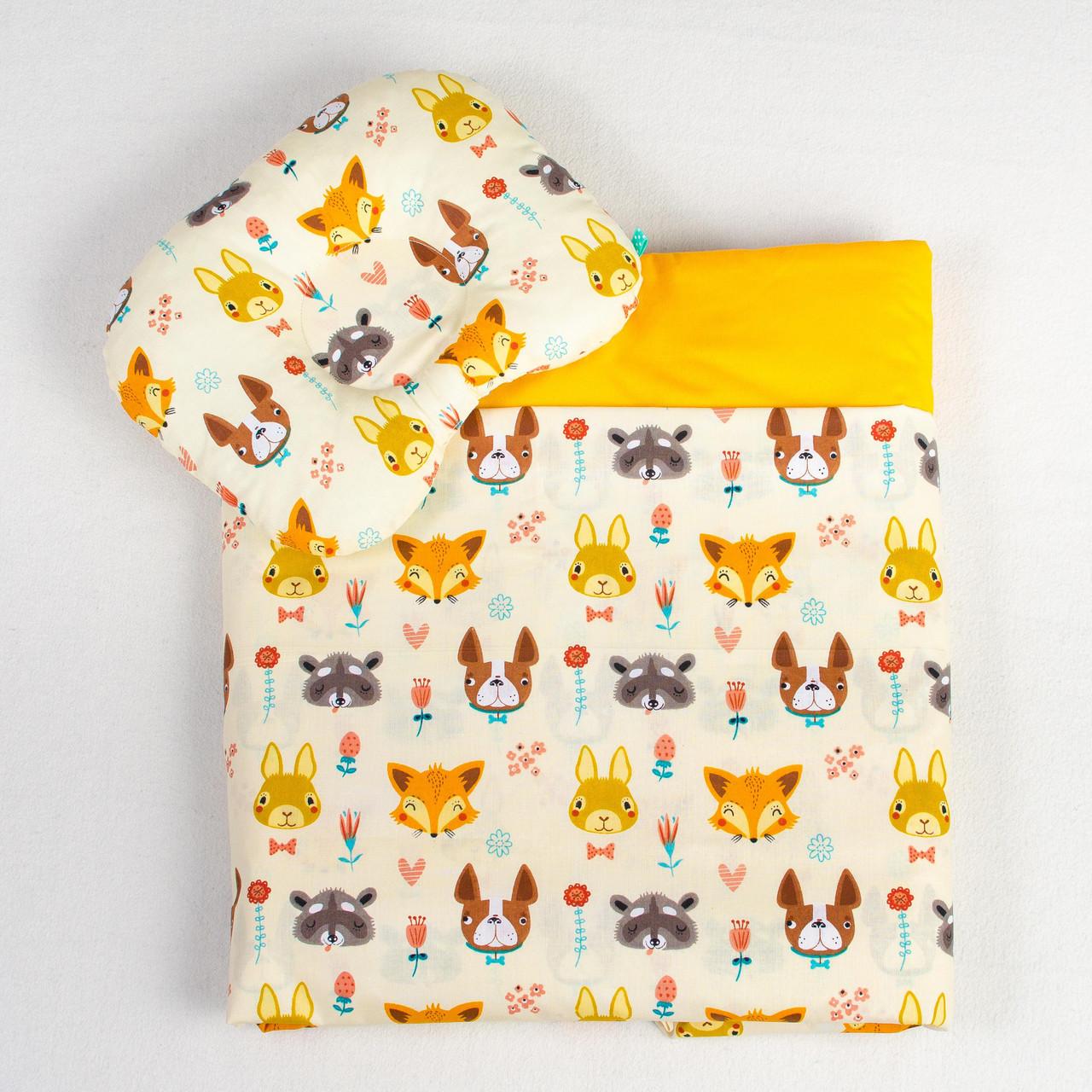 """Постельное белье в детскую колыбель, три предмета (одеяло, подушка, простынь) """"Лесные жители"""""""
