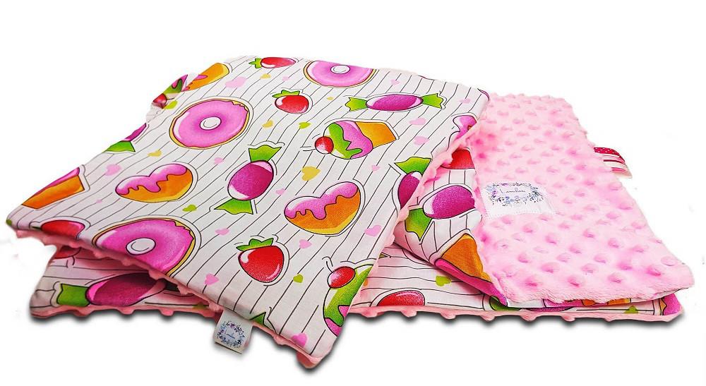 """Постельное белье в детскую колыбель, три предмета (одеяло, подушка, простынь) """"Конфетки"""""""