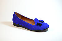 Туфли детские для девочек слипоны для девочек синие из замши с бантом 332109