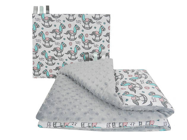 """Постельное белье в детскую колыбель, три предмета (одеяло, подушка, простынь) """"Лошадки"""" на сером плюше, фото 2"""